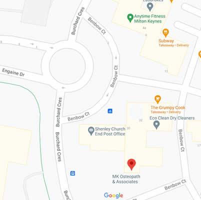 mk osteopath 12a Benbow Court Shenley Church End MK5 6JG